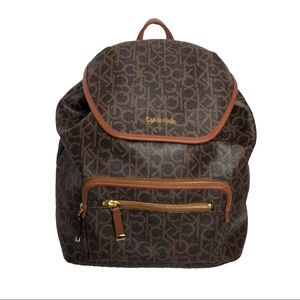 Calvin Klein Logo Backpack Faux Leather Brown